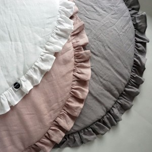 Baby play mat with ruffle DUSTY PINK 100% linen