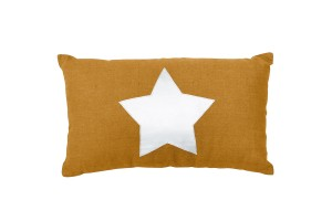 Linen pillows with silver star mustard