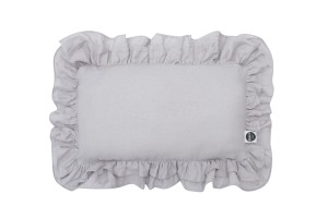 Linen pillow with two frills gray