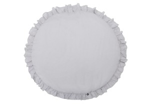 Ruffled linen play mat grey